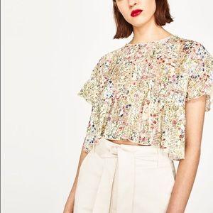 Zara Striped Floral Print Short Sleeved Top